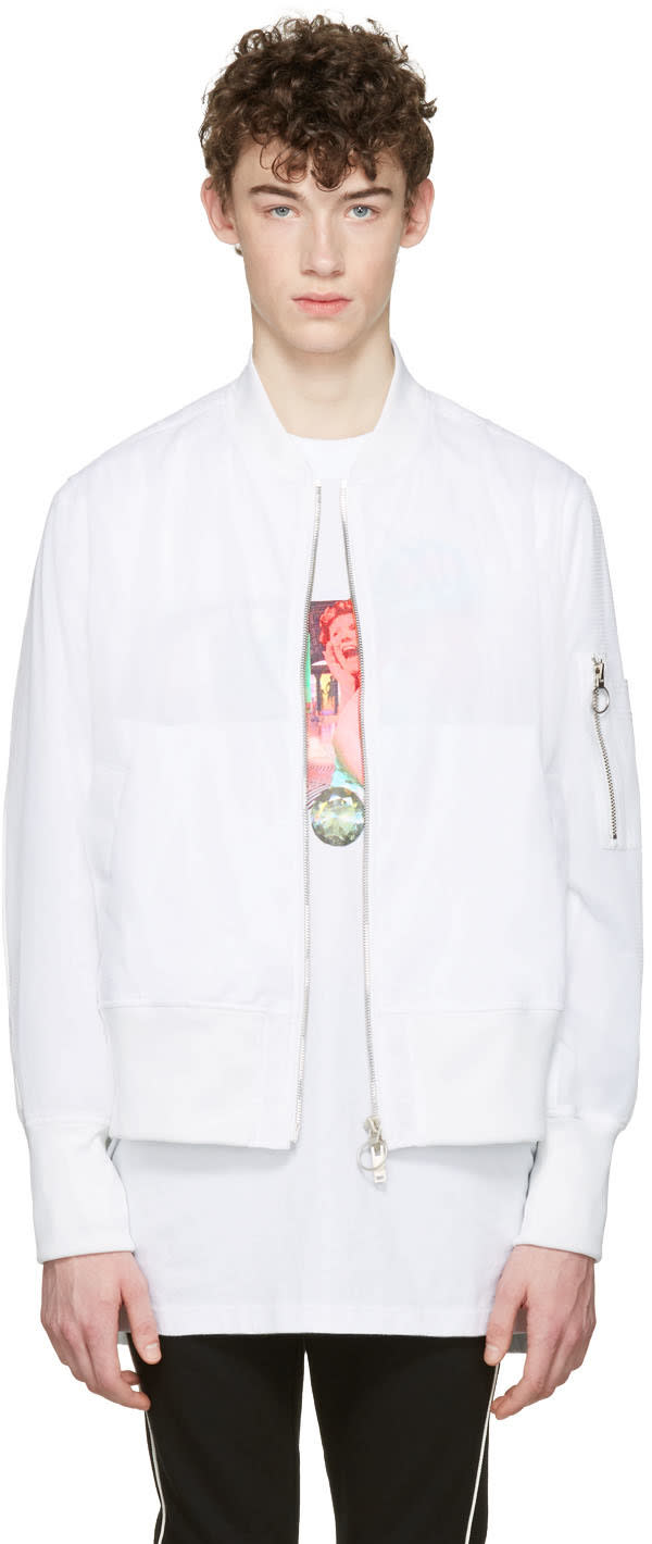 D By D White Mesh Bomber Jacket