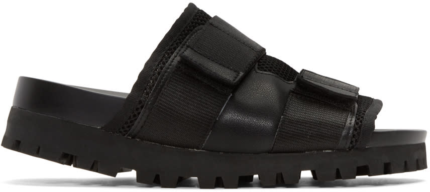 D By D Black Mesh Velcro Sandals