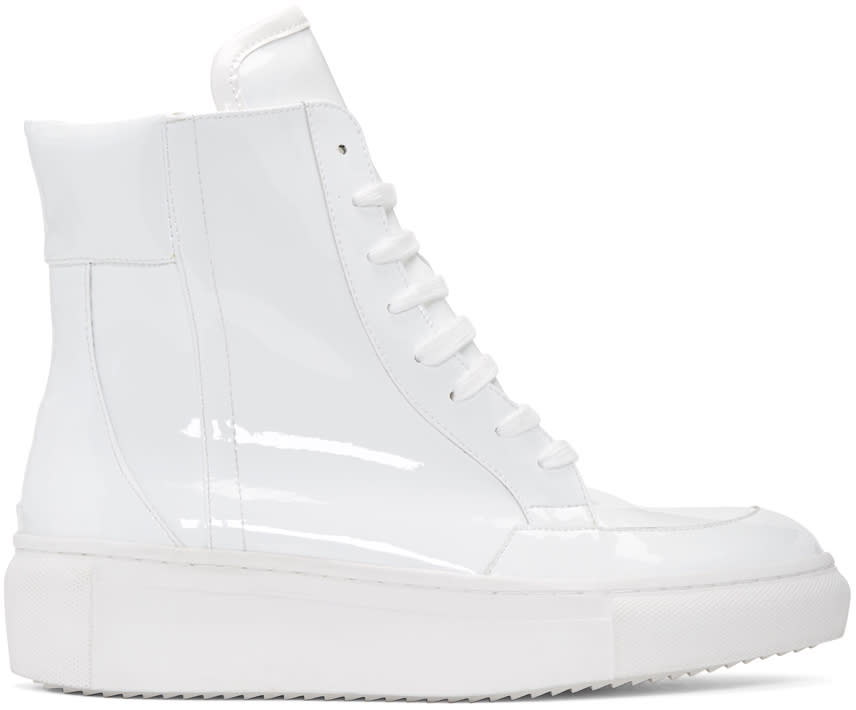 D By D White Coated High-top Sneakers