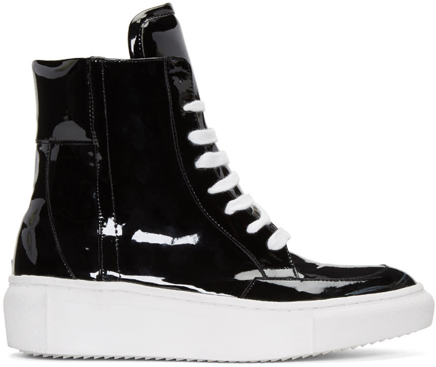 D By D Black Coated High-top Sneakers
