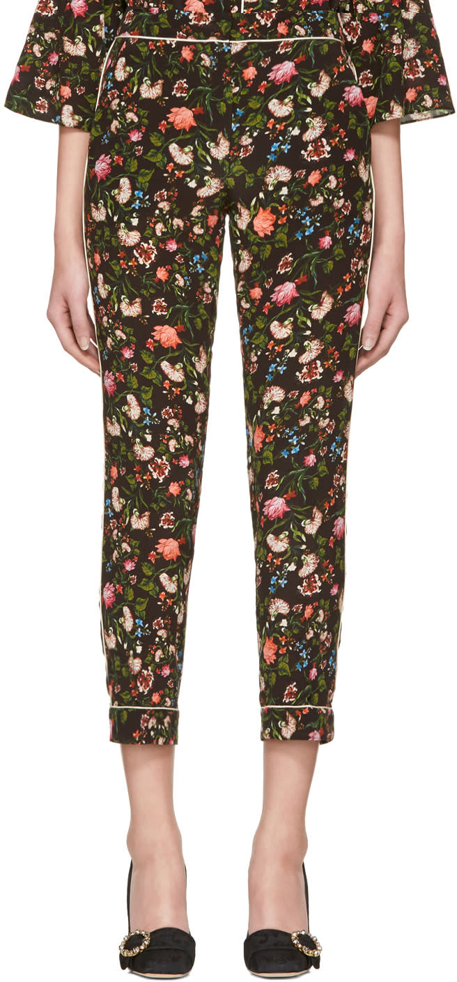 Erdem Black Guillia Convertine Cigarette Trousers