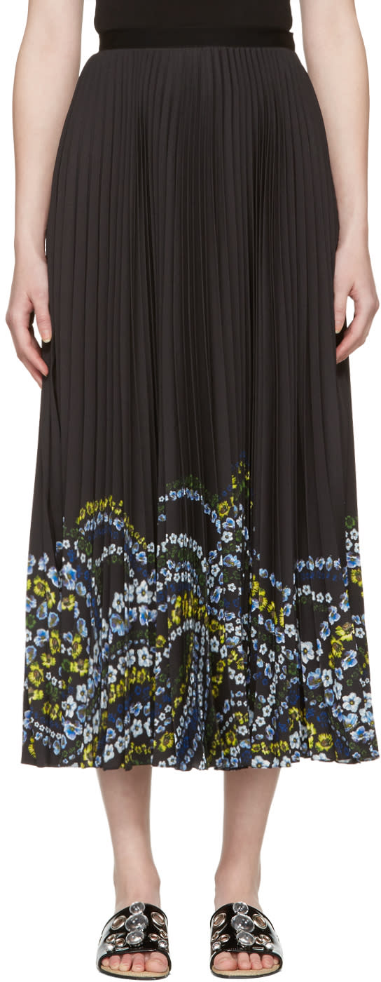 Erdem Black Pleated Floral Hem Skirt