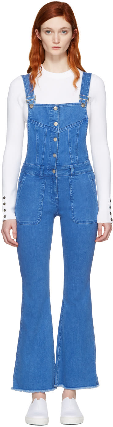 Image of Sjyp Blue Denim Boot Cut Overalls