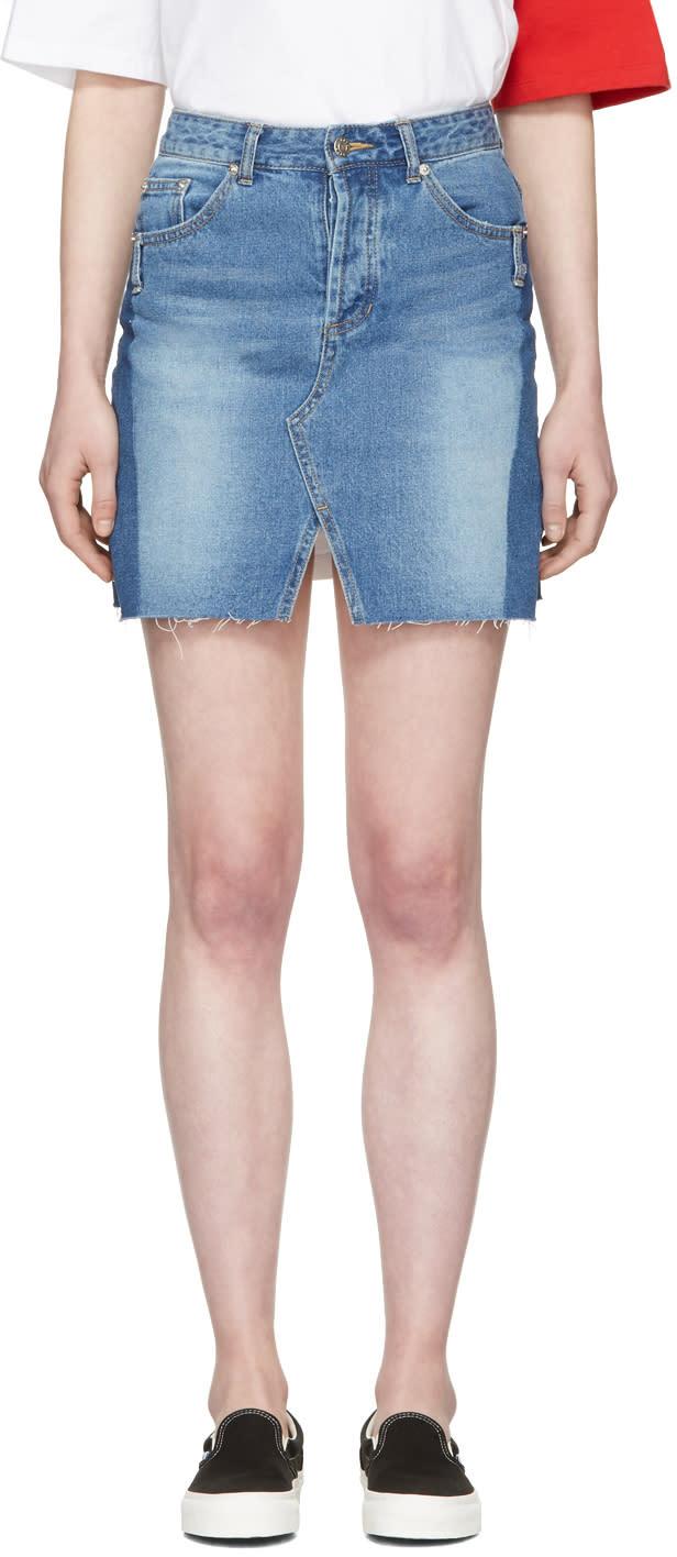 Sjyp Blue Denim Cut-off Miniskirt