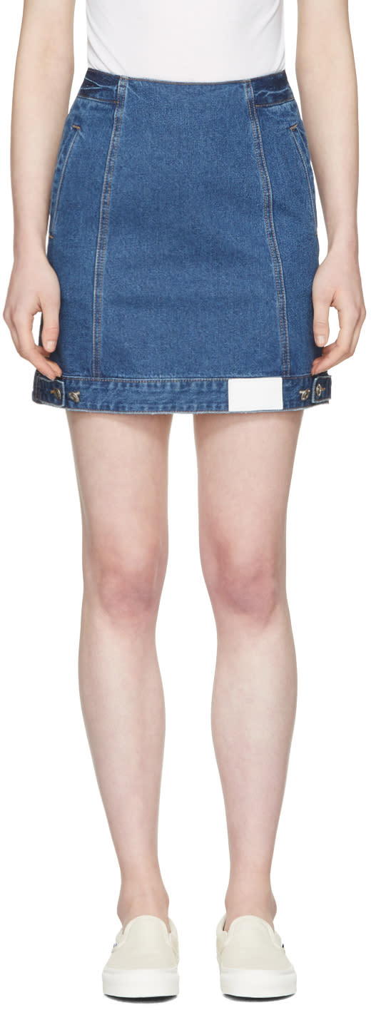 Sjyp Blue Denim Button Miniskirt
