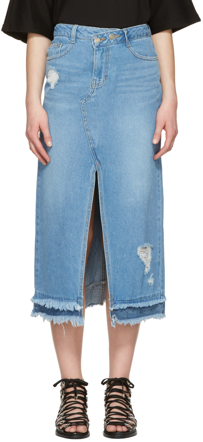 Sjyp Blue Destroyed Denim Skirt
