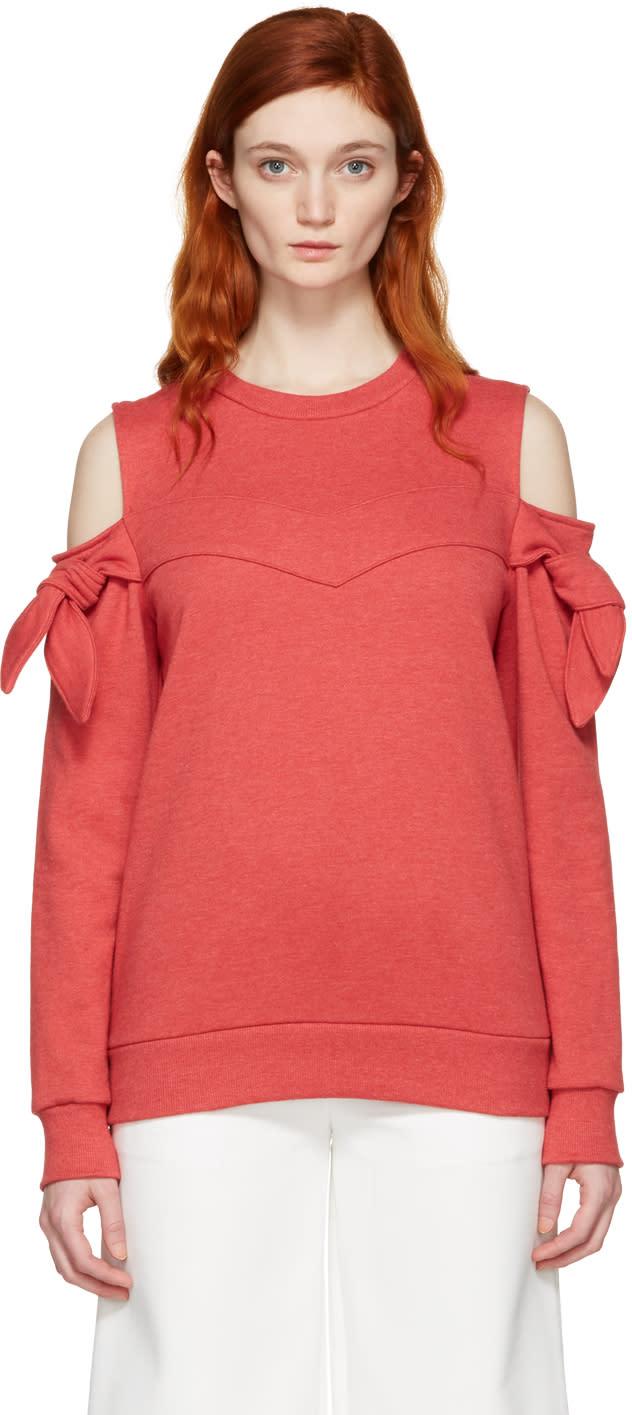 Sjyp Red Off-shoulder Knotted Pullover