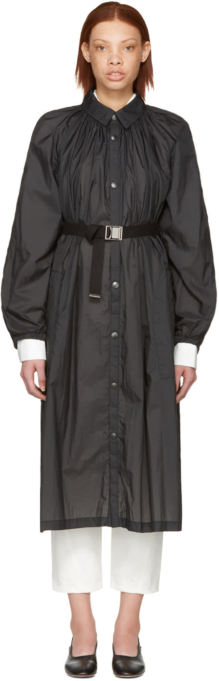 Lemaire Black Pleated Nylon Overcoat