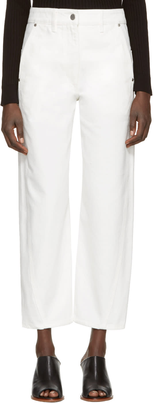 Lemaire White Denim Twisted Trousers