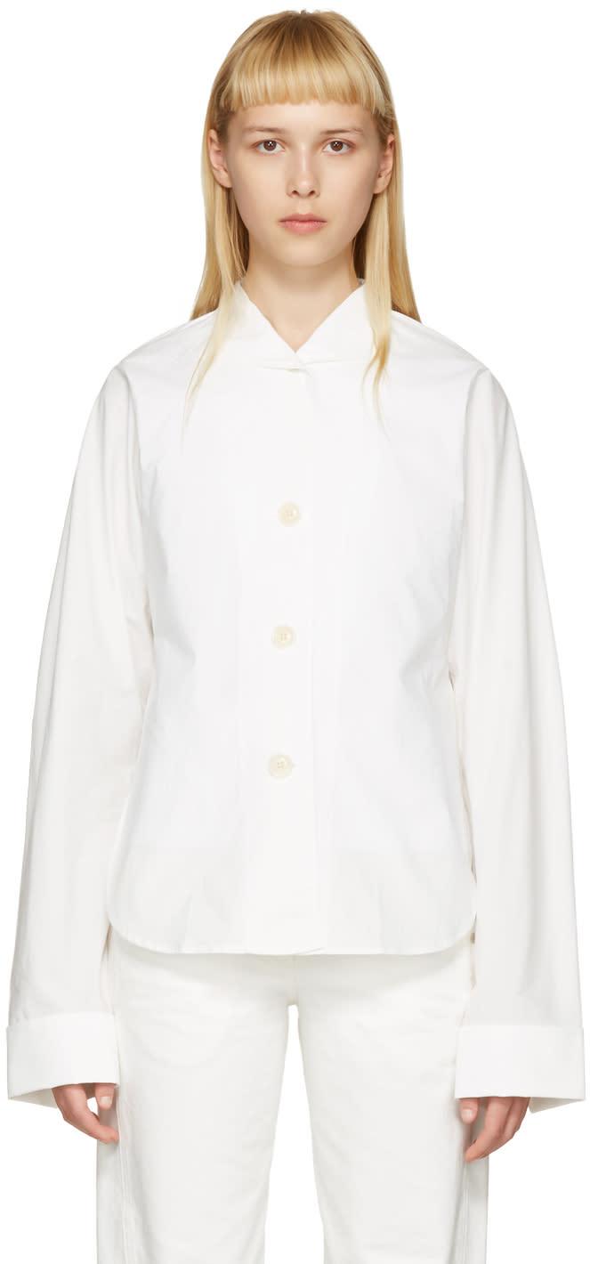 Lemaire White Kimono Sleeve Shirt