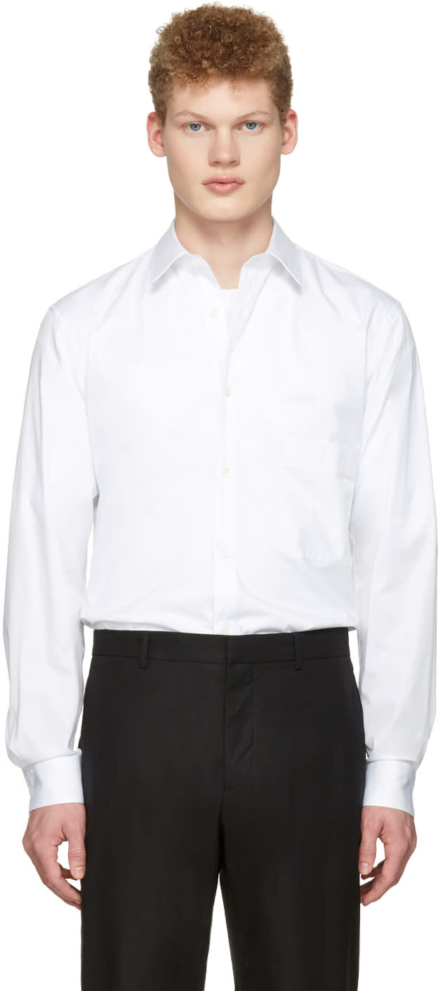 Lemaire White Straight Collared Shirt