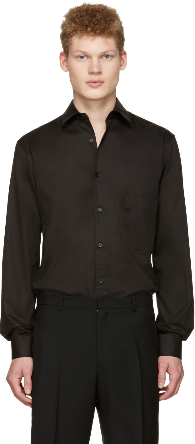 Lemaire Black Straight Collared Shirt