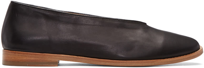 Lemaire Black Leather Loafers