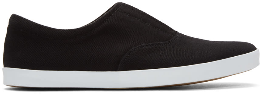 Lemaire Black Twill Slip-on Sneakers