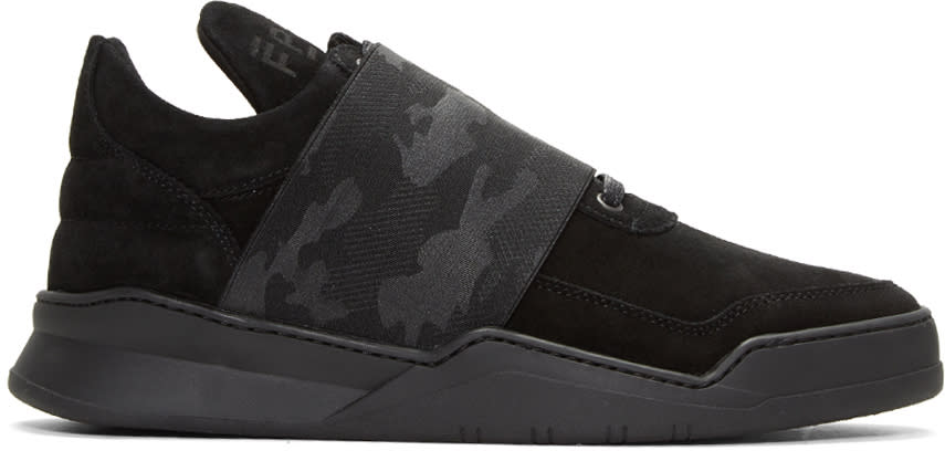 Filling Pieces Black Ghost Elastic Strap Camo Sneakers