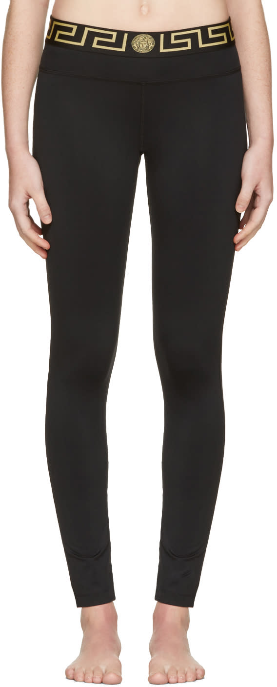 Versace Underwear Black Medusa Leggings