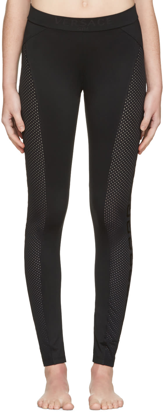 Versace Underwear Black Perforated Leggings