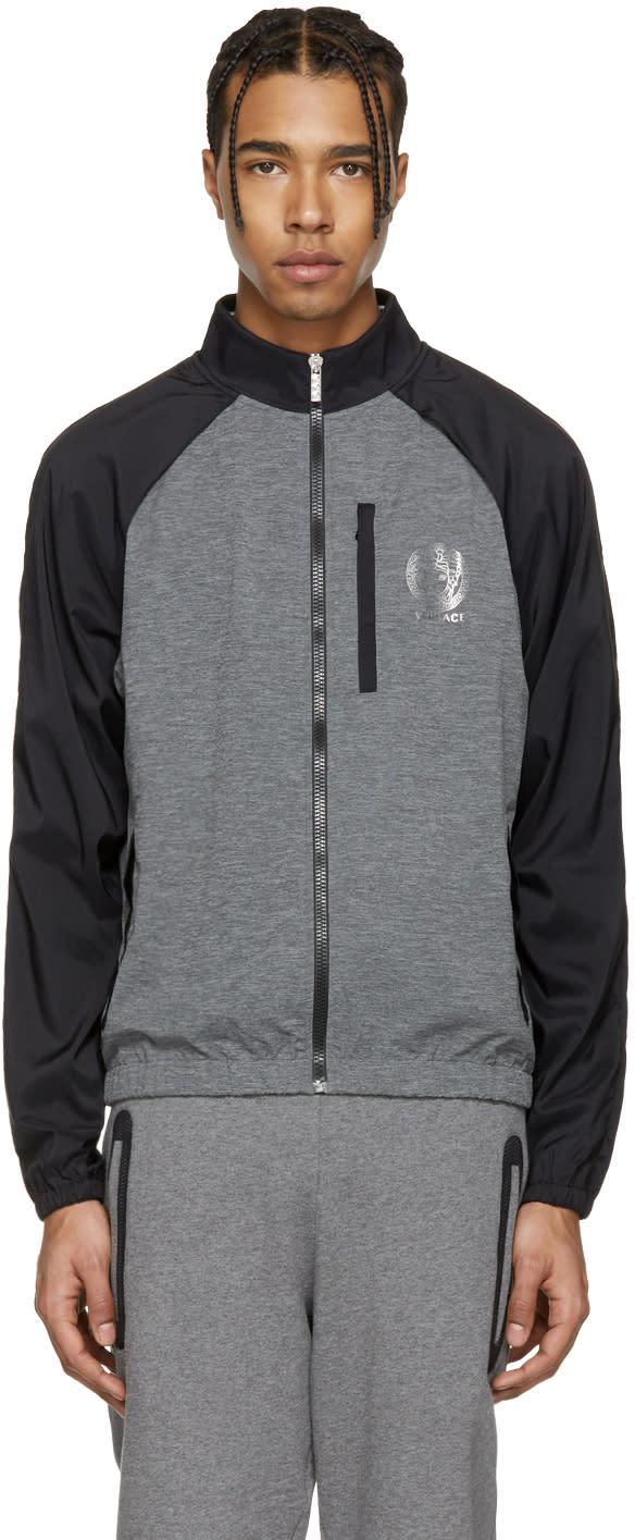 Versace Underwear Grey and Black Running Zip Jacket