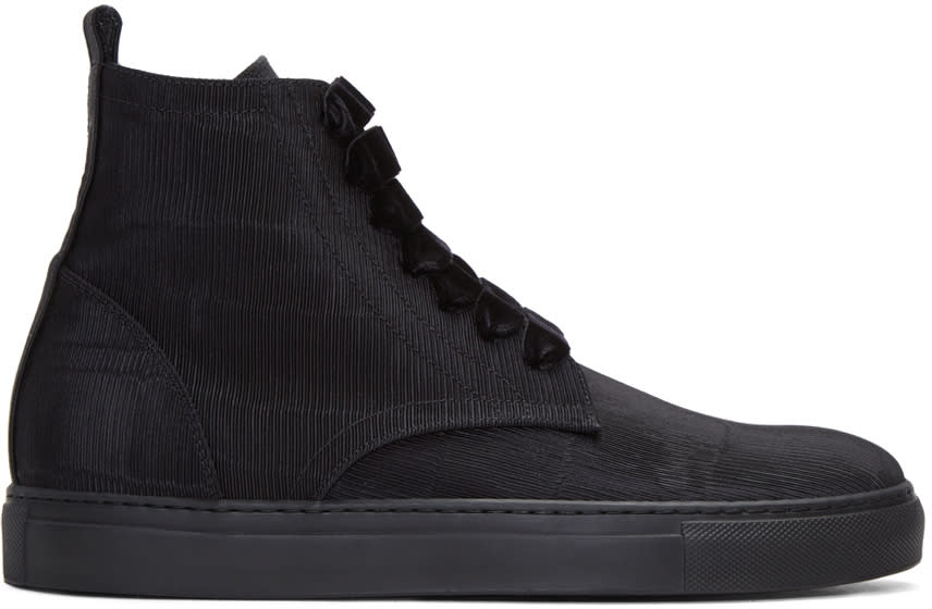 Ad Ann Demeulemeester Black Ribbed Textile High-top Sneakers