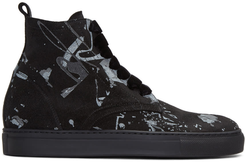 Image of Ad Ann Demeulemeester Black Suede Splatter High-top Sneakers