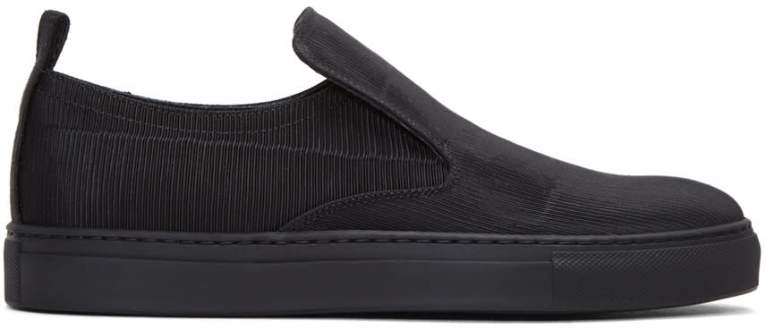 Ad Ann Demeulemeester Black Ribbed Textile Slip-on Sneakers