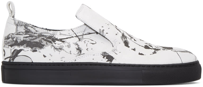 Ad Ann Demeulemeester White Suede Splatter Slip-on Sneakers