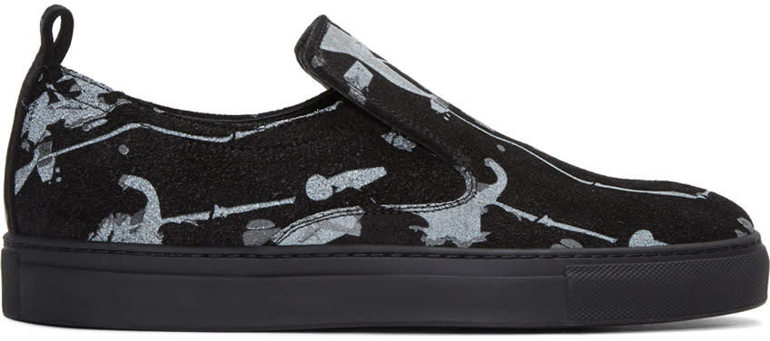 Ad Ann Demeulemeester Black Suede Splatter Slip-on Sneakers