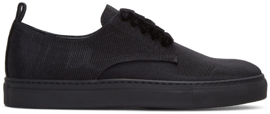 Ad Ann Demeulemeester Black Ribbed Textile Sneakers