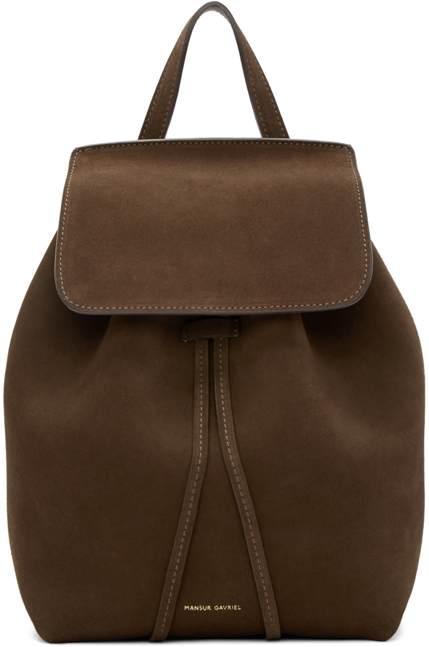 Mansur Gavriel Brown Suede Mini Backpack