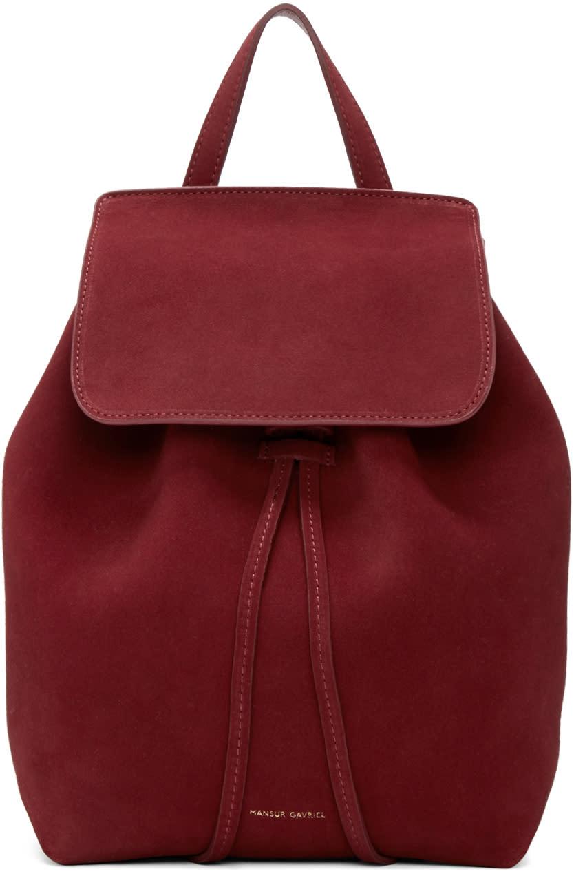 Mansur Gavriel Burgundy Suede Mini Backpack