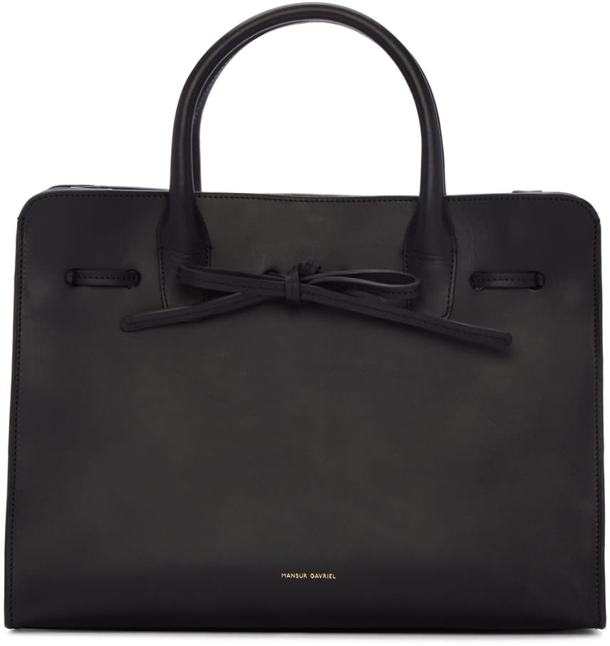 Mansur Gavriel Black Leather Sun Tote