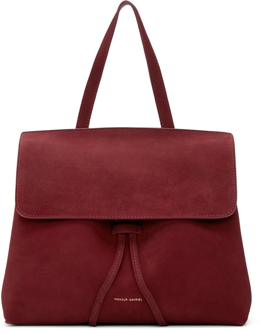 Mansur Gavriel Burgundy Suede Mini Lady Bag