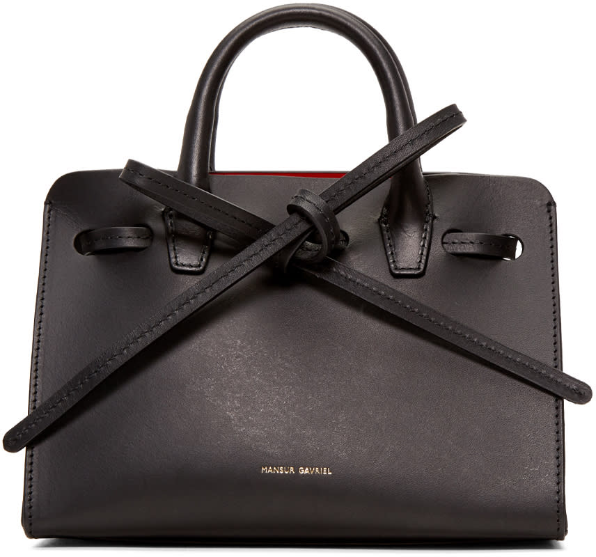 Mansur Gavriel Black Leather Mini Mini Sun Tote
