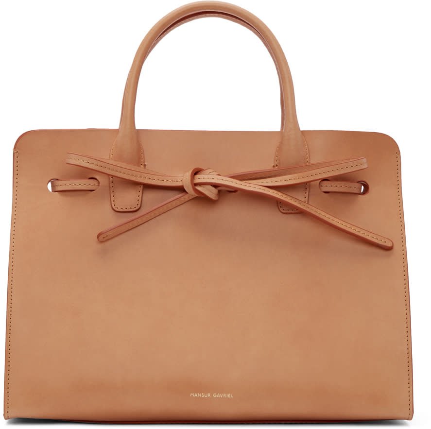 Mansur Gavriel Tan Leather Mini Sun Tote