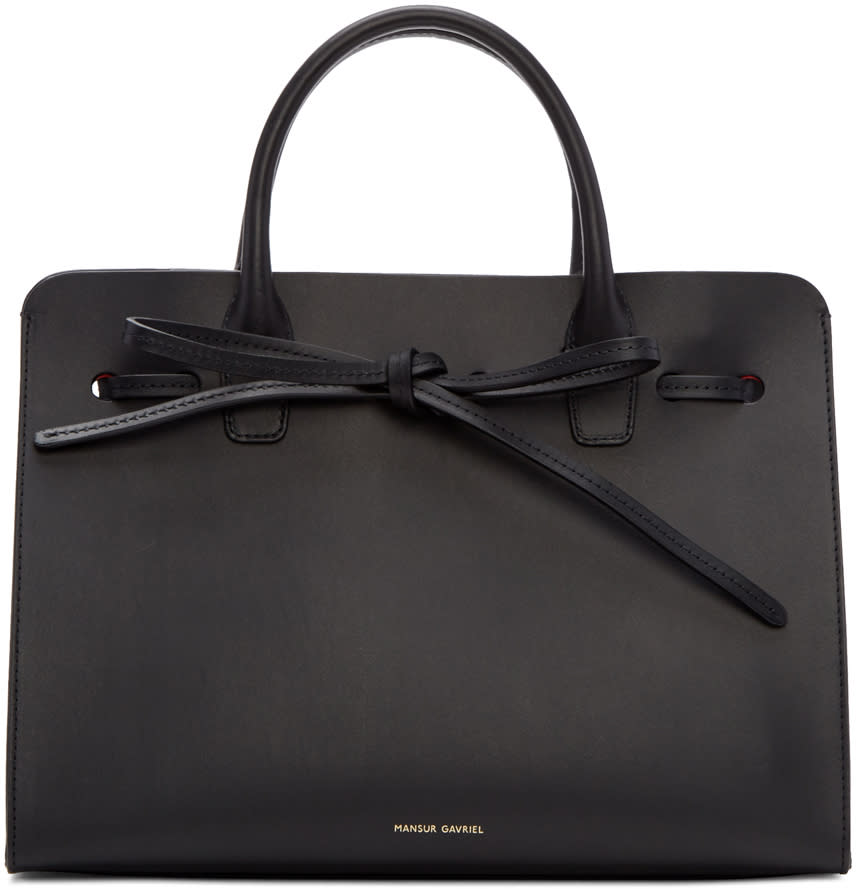 Mansur Gavriel Black Leather Mini Sun Tote