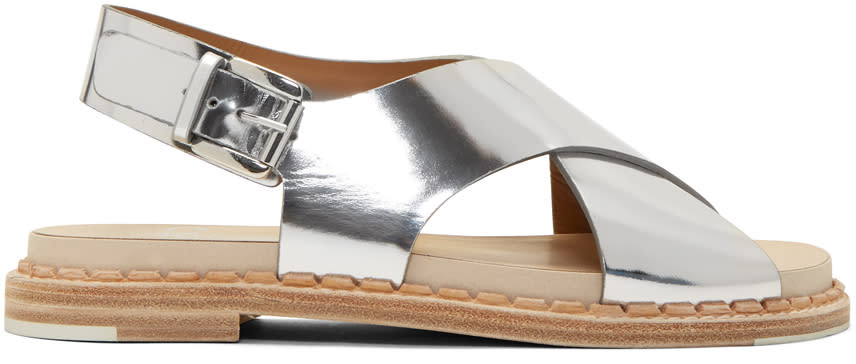 Flamingos Silver Mirror Canna Bis Sandals