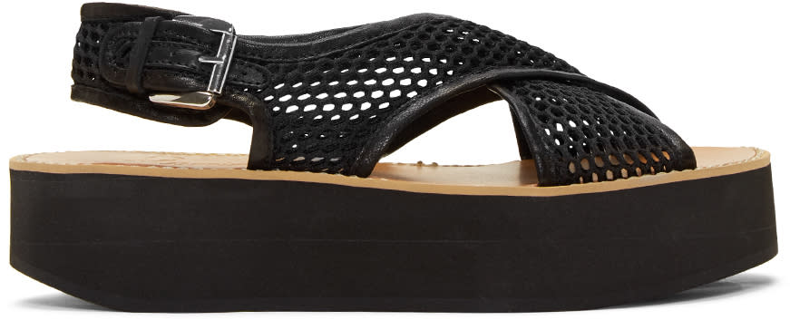 Flamingos Black Mesh Malabar Sandals