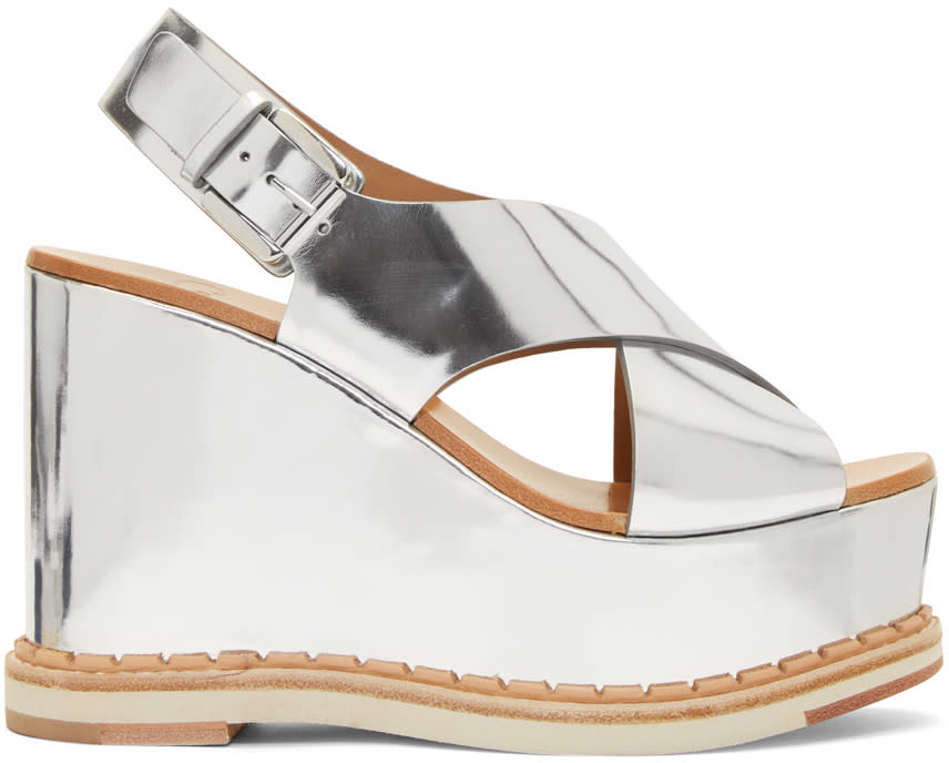 Flamingos Silver Mirror Trendy Wedge Sandals