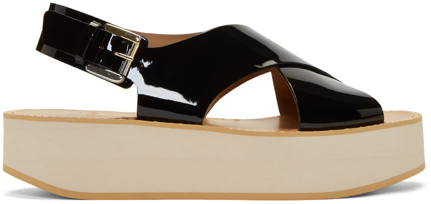 Flamingos Black Patent Malabar Sandals