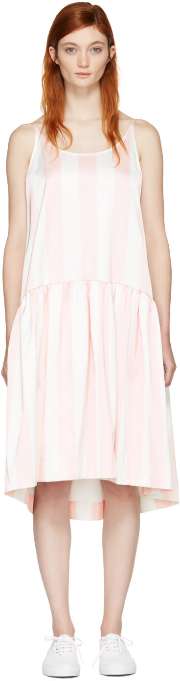 Edit Pink and White Curved Peplum Dress