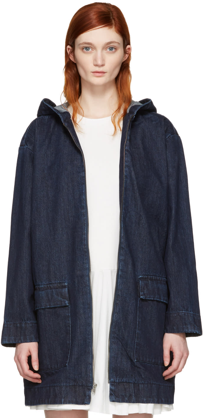 Edit Blue Cocoon Hooded Jacket