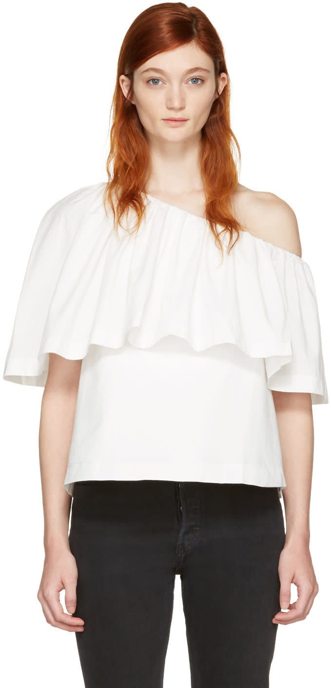 Edit White Single-shoulder Ruffle Blouse