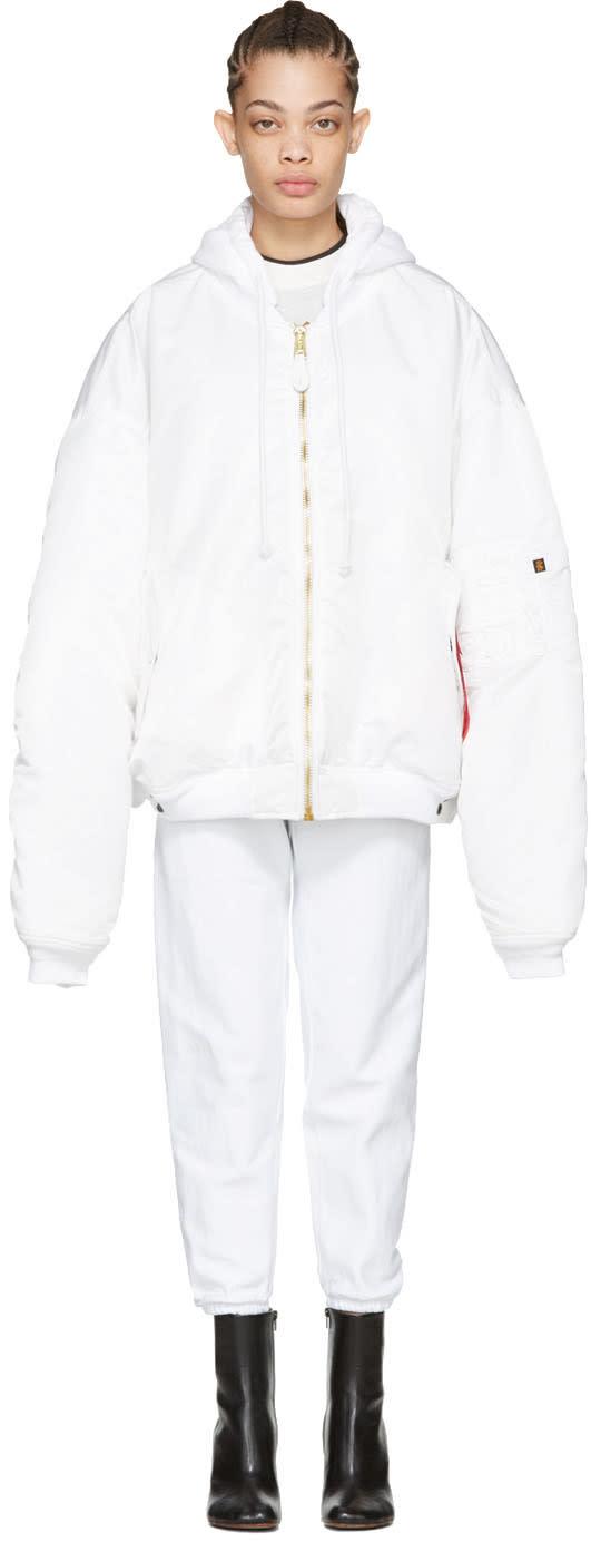 Vetements Reversible White Alpha Industries Edition Bomber Jacket