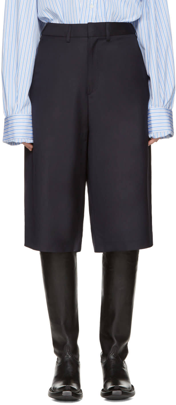Vetements Navy Brioni Edition Back Slit Tailored Shorts