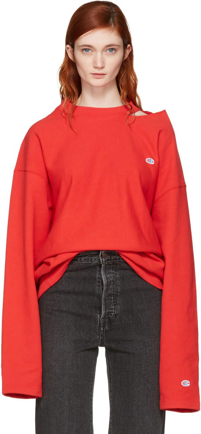 Vetements Red Champion Edition Cut-out Neckline Sweatshirt