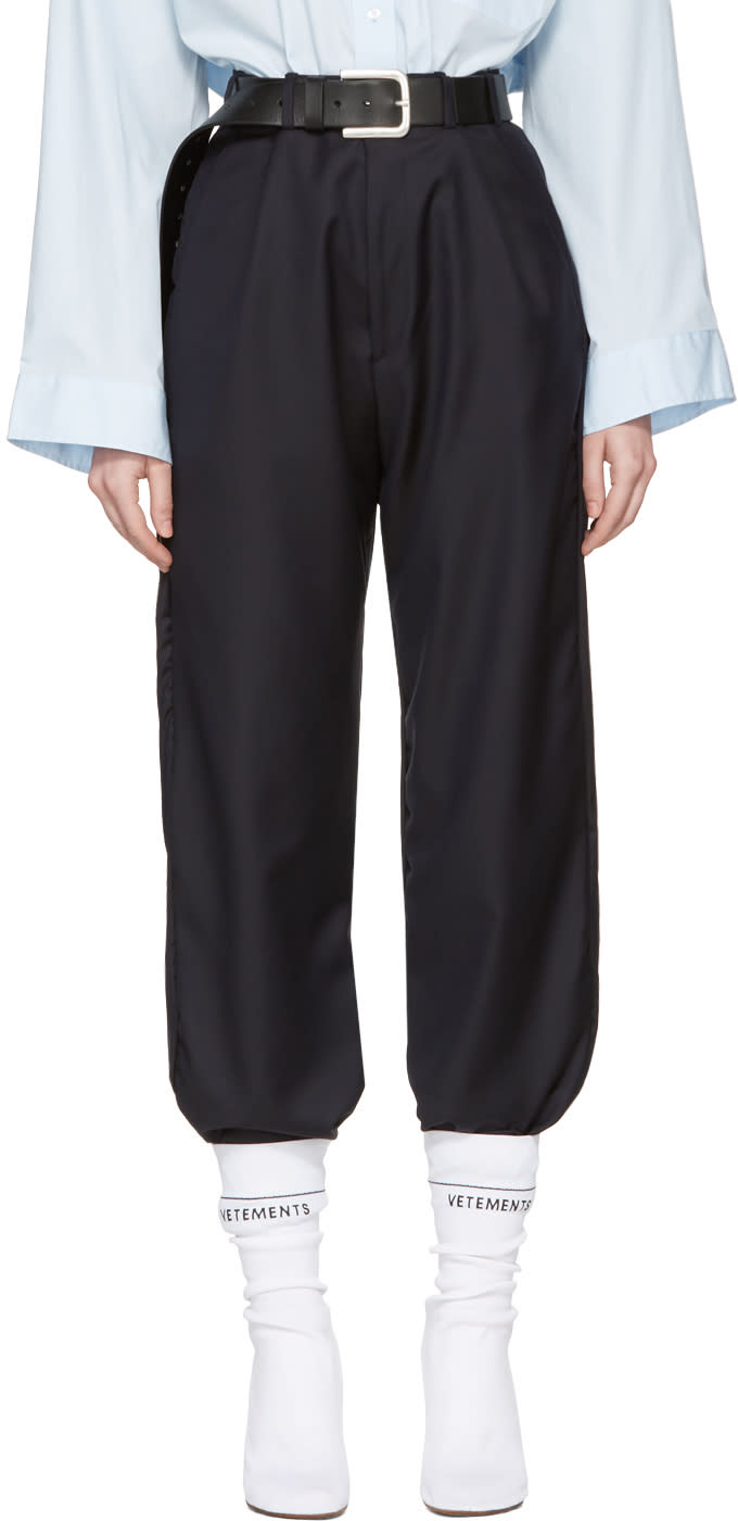 Vetements Navy Brioni Edition Cropped Tailored Trousers