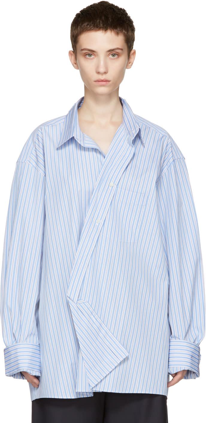 Vetements Blue Comme Des Garçons Edition Asymmetric Packshot Shirt