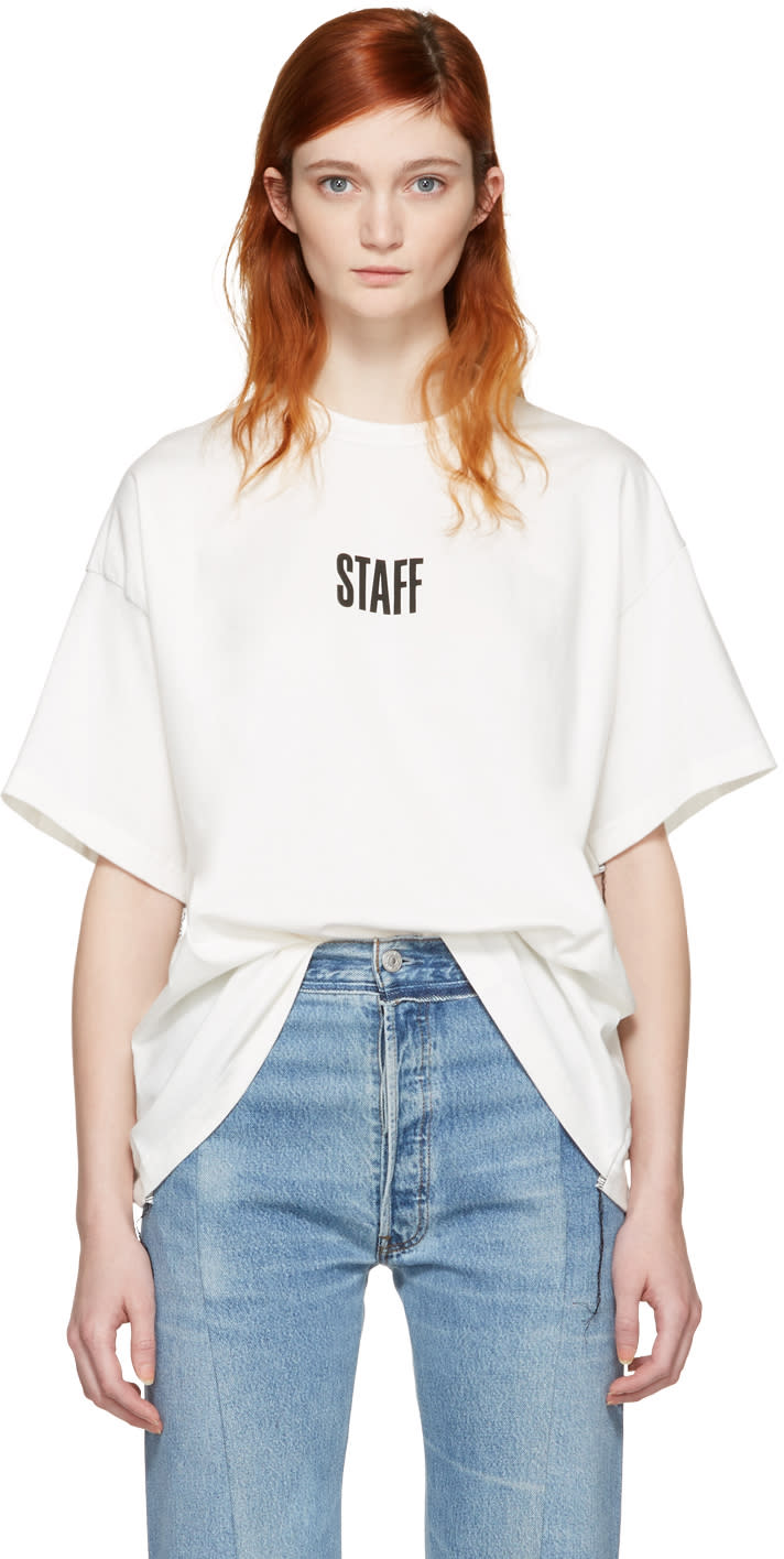 Vetements White Hanes Edition Quick Made Oversized staff T-shirt