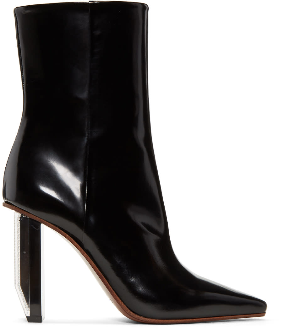 Image of Vetements Black and Silver Reflector Heel Boots