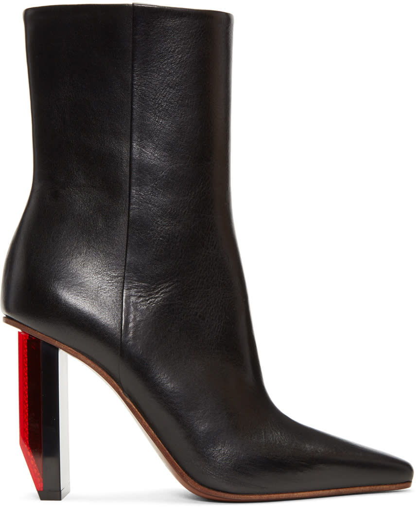 Image of Vetements Black and Red Reflector Heel Boots